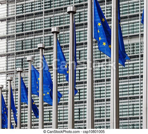 EU flags in front of berlaymont building - csp10801005