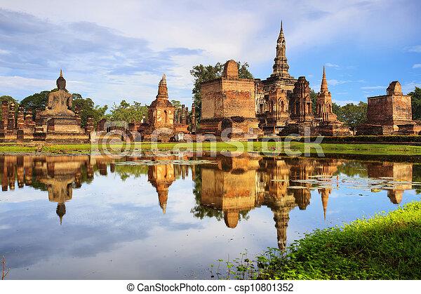 Main buddha Statue in Sukhothai historical park - csp10801352