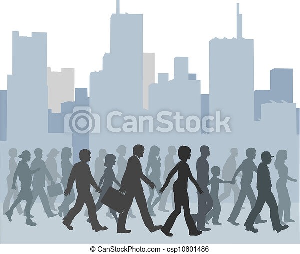 Crowd of People Clipart Crowd of People Walking City