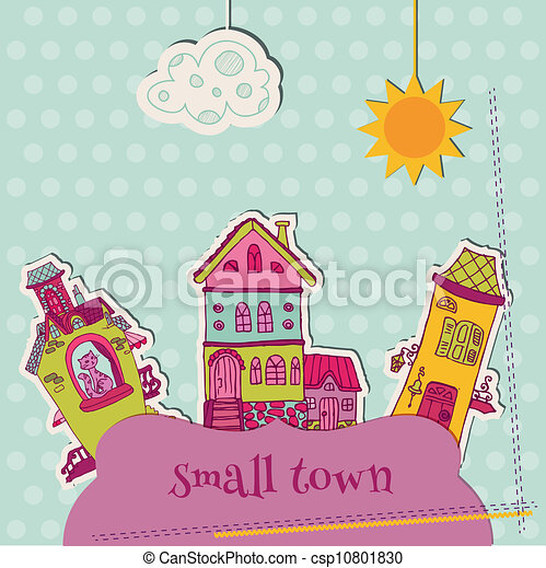 Little Town Scrap - for scrapbooking and design - in vector - csp10801830