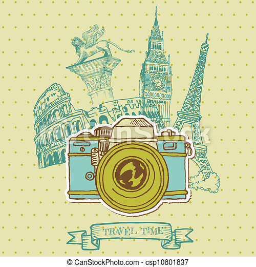 Lovely Card - Vintage Camera with Europe Architecture - in vector - csp10801837