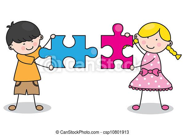 Clip art vecteur de enfant puzzle morceaux csp10801913 - Puzzle dessin ...