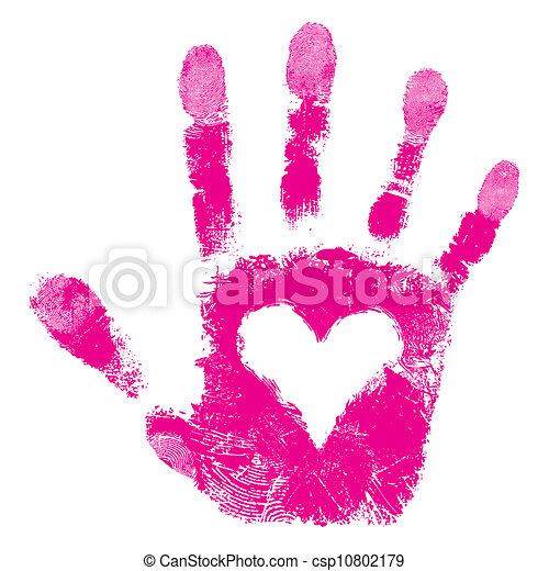 Print of hand of people support - csp10802179