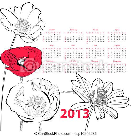 Stylized flowers illustration - csp10802236