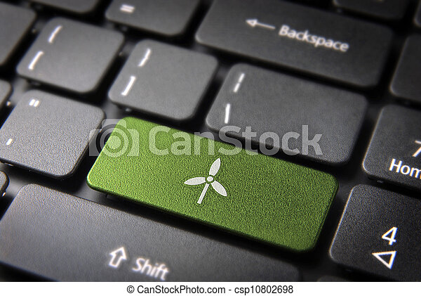 Go green wind energy keyboard key, environment background - csp10802698