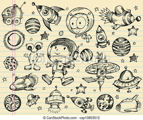 Vector clip art de exterior espacio garabato bosquejo - Dibujos infantiles del espacio ...