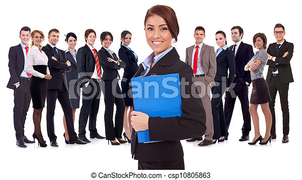 young business woman leading a team - csp10805863