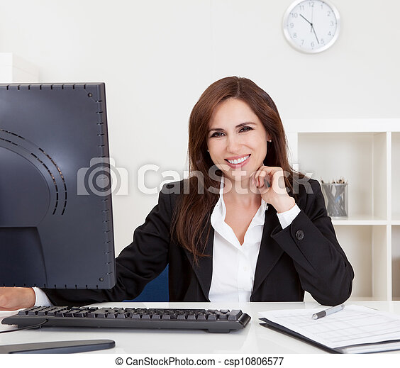 Businesswoman Using Computer - csp10806577