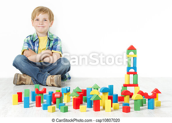 Boy and construction blocks toys - csp10807020