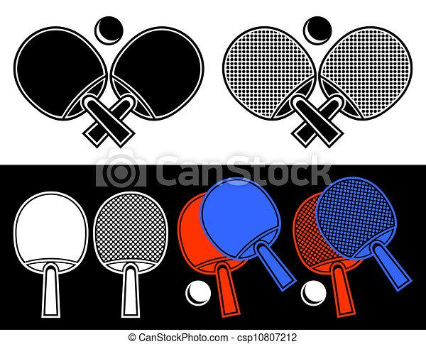 les, traversé, Raquettes, table, tennis, Formulaire, emblème, les ...