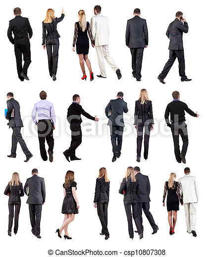 """Collection """" Back view of walking  business people """" - csp10807308"""