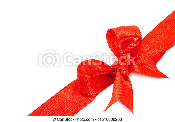 Big red holiday bow on white background - csp10808263