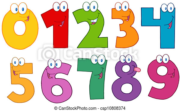 Funny Numbers Cartoon Characters - csp10808374
