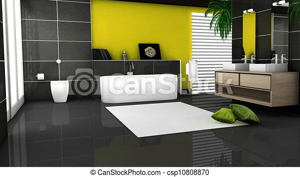 Stock illustraties van badkamer tijdgenoot gele yellow for Badkamer plannen in 3d