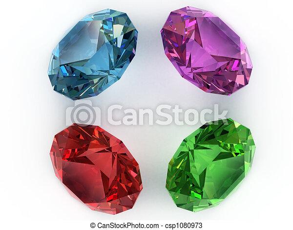 Multi-coloured gemstones - csp1080973