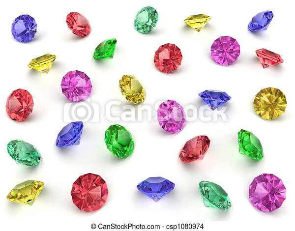 Several multi-coloured gemstones - csp1080974