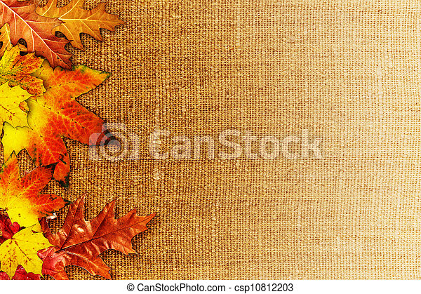Fallen foliage over old hessian fabric, abstract autumn backgrounds - csp10812203