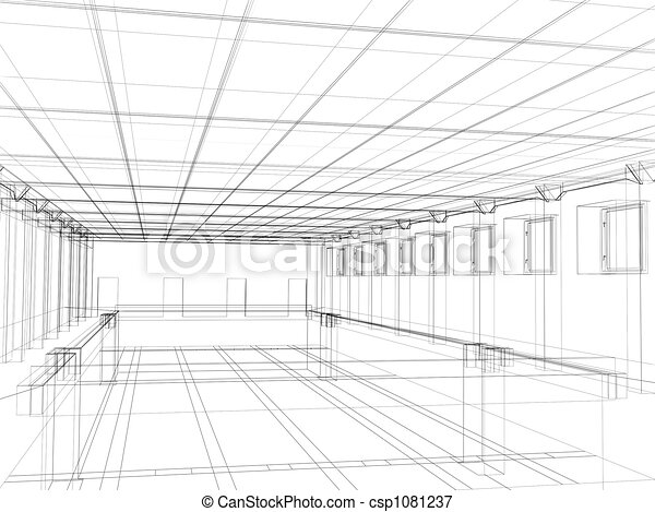 3d sketch of an interior of a public buildin - csp1081237