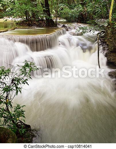 water fall , hua mae kamin level 6 kanchanaburi thailand - csp10814041