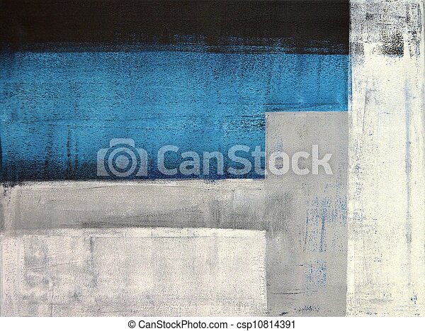 Teal and Grey Abstract Art Painting - csp10814391