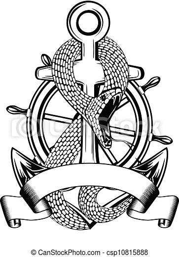 Vecteur de roue ancre direction serpent vector illustration csp10815888 recherchez - Ancre marine dessin ...