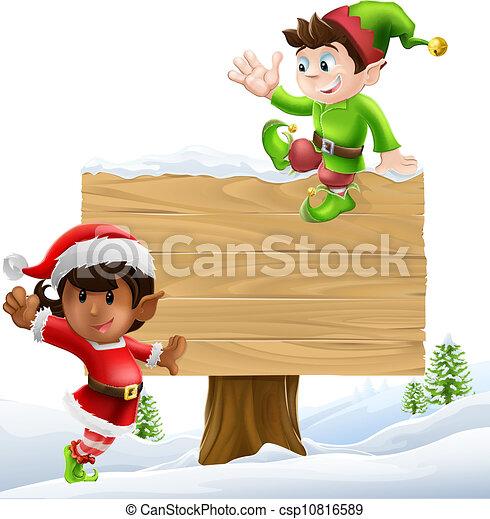 Christmas sign illustration - csp10816589