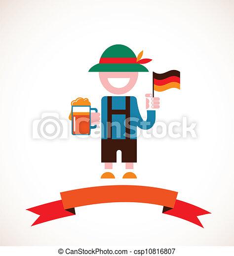 Oktoberfest background - man with beer - csp10816807