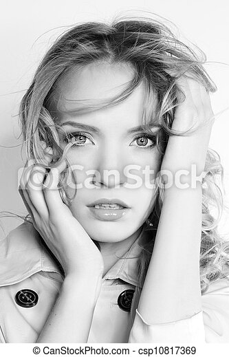 black and white portrait of a beautiful young woman - csp10817369