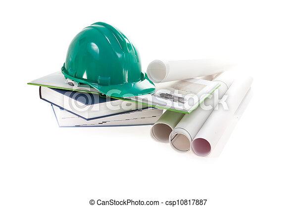 builder's helmet, books and scheme on white background - csp10817887