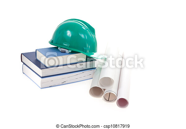 helmet, books and schemes isolated on white background - csp10817919