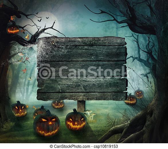 Halloween design - Forest pumpkins - csp10819153