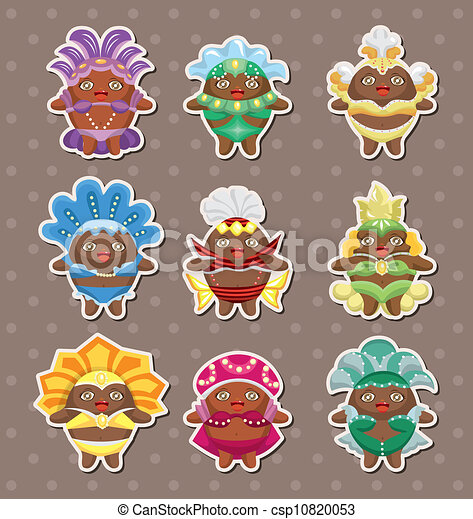 set of carnival costume people stickers - csp10820053