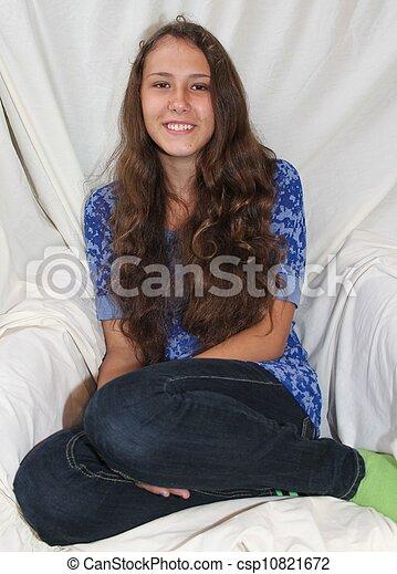 Smiling Alaska Native Teen Girl - csp10821672