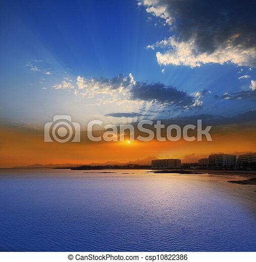 Arrecife Lanzarote sunset in Reducto Beach - csp10822386