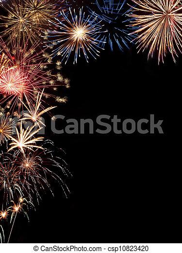 Frame holiday fireworks - csp10823420
