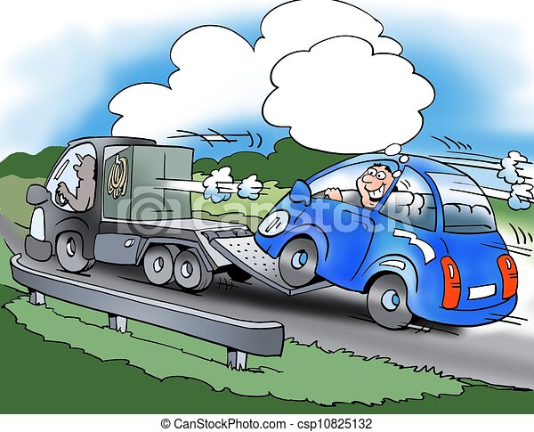 Drawings of The driver of the small car saves fuel ...