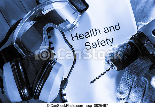 Register with goggles, drill and earphones - csp10825497