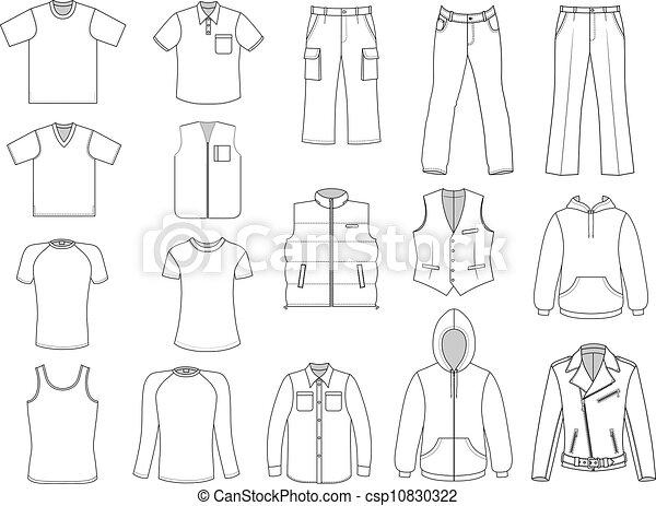 Ilustraciones de Vectores de hombre, ropa, Colección, aislado ...