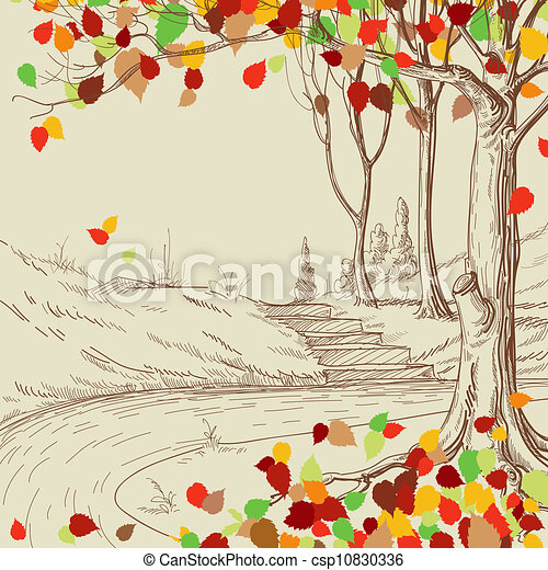 Autumn tree in the park sketch, bright leaves falling - csp10830336