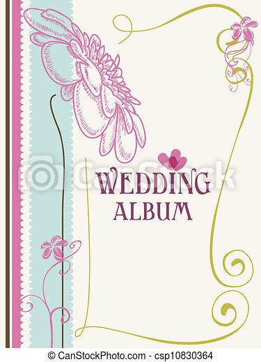 Clip Art Vector of Wedding album cover vector illustration ...