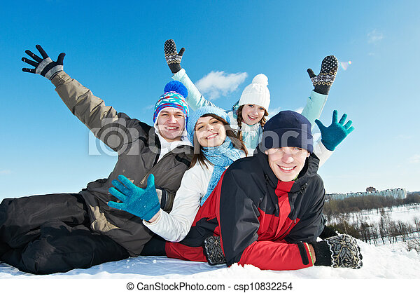 group of happy young people in winter - csp10832254