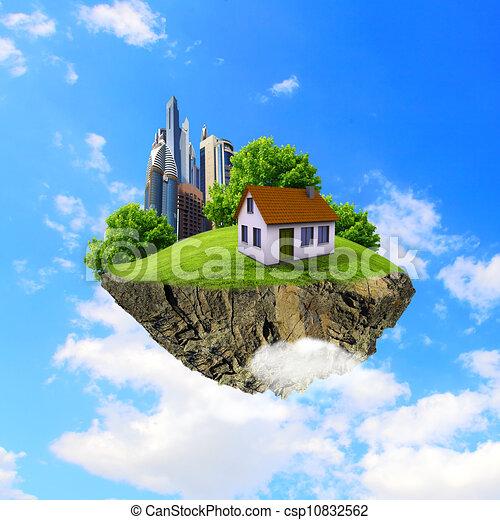 Archivio illustrazioni di albero casa terra pezzo aria for Piani di casa di concetto aperto stile ranch