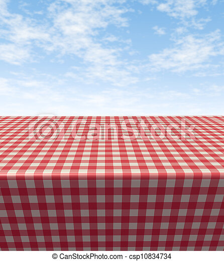 Checkered Tablecloth-table - csp10834734
