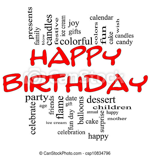 Happy Birthday Word Cloud Concept in red & black - csp10834796