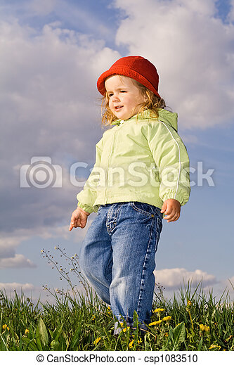 Little girl in the early spring afternoon - csp1083510