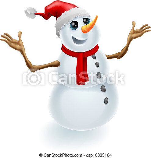 Clip Art Vector of Christmas Snowman Wearing Santa Hat - A cute ...