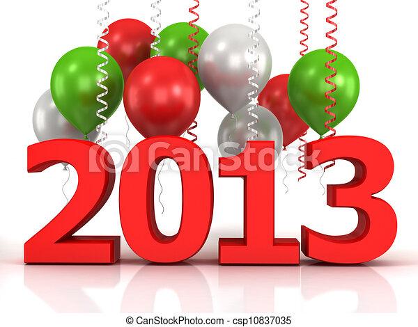 3d shiny ballons and data 2013 - csp10837035