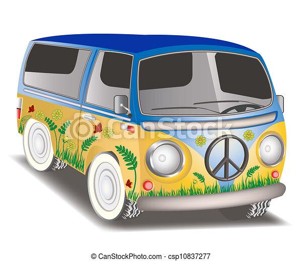 Ilustraciones vectoriales de Hippie, furgoneta - Ilustración, Hippie ...