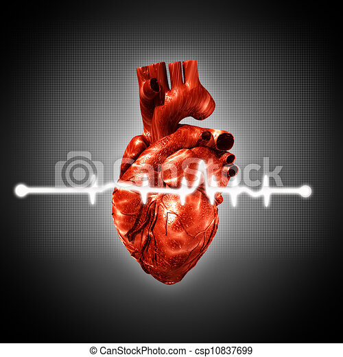 Medical abstract backgrounds with human 3D rendered heart - csp10837699