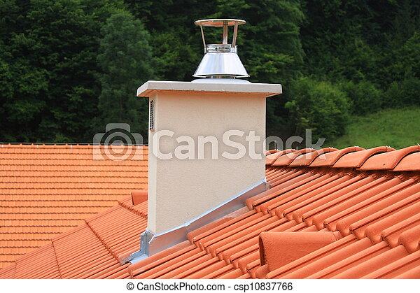 stock de imagenes de techo chimenea rojo concreto techado chimenea csp10837766 buscar. Black Bedroom Furniture Sets. Home Design Ideas